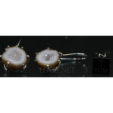 Pendientes de Geoda de cuarzo y ágata J4111