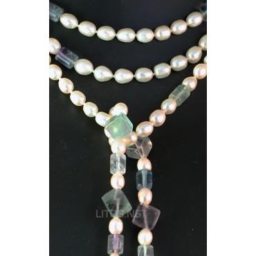 Collar de perla y fluorita