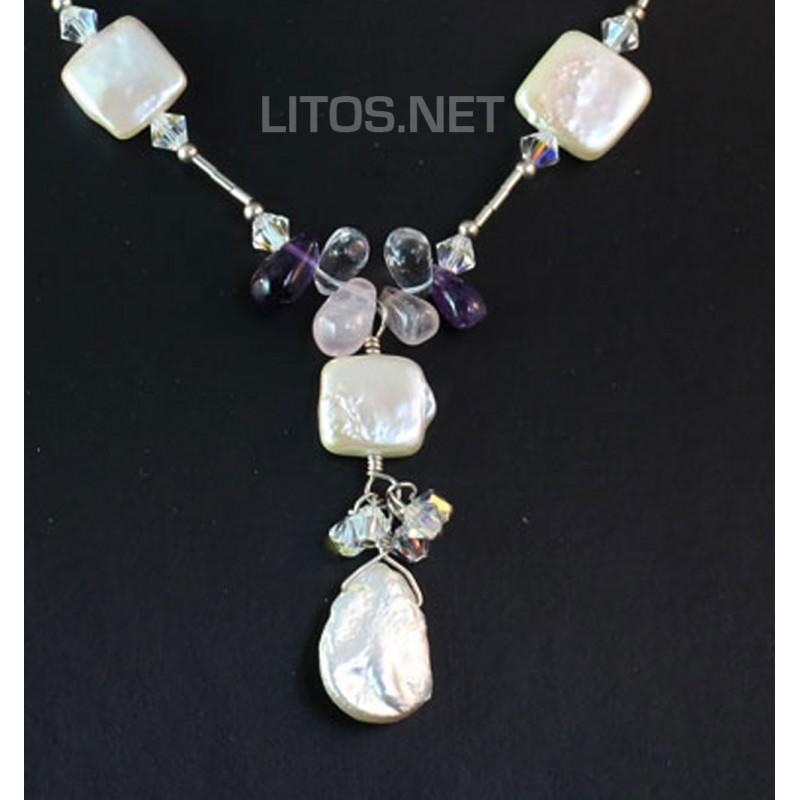 Collar de perlas y cuarzos J330