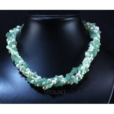 Collar de perlas y aventurina J2884