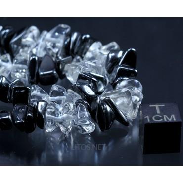 Collar de cuarzo cristal de roca y hematite J2929